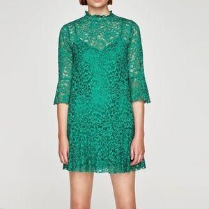 NWOT Zara Victorian Jade Green Lace Dress Lined